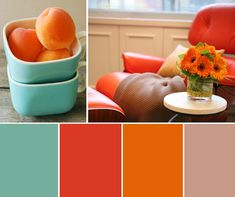 Possible kitchen color palette Palette Design, Bedroom Colour Palette, Bedroom Colors, Red And Teal, Orange And Turquoise, Orange Color, Red Color, Yellow, Teal Coral