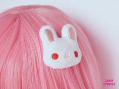 HAIR CLIP BUNNY - White albino rabbit bunny - fluffy hairclip hairpuff - embroidered on soft minky fleece Pastel Fashion, Kawaii Fashion, Lolita Fashion, Cute Fashion, Style Kawaii, Looks Kawaii, Kawaii Accessories, Hair Accessories, Kawaii Hairstyles