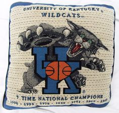 University of Kentucky Wildcats Mascot Toss Plush Needlepoint Pillow Basketball…
