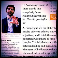 """""""Leadership is the ability to inspire others to achive shared objectives"""" #Quote @jeffweiner #LinkedIn"""