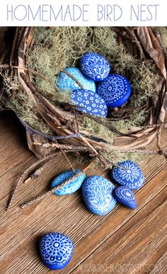 I must make these painted stones! - Minions! Bring me a truckload of flat river-rocks! [alisaburke: homemade bird nest]