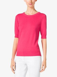 Elbow-Sleeve Cashmere Sweater