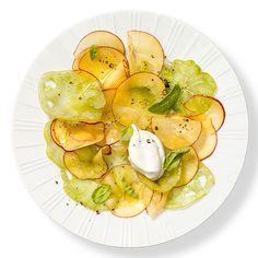 Ciao Down Italian Menu, APPETIZER | Green Tomato & Peach Carpaccio #RRMenuPlanner