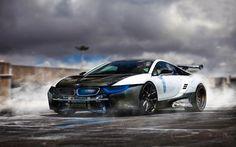 Descargar fondos de pantalla el humo, el BMW i8, el arte, aparcamiento, coches alemanes, BMW