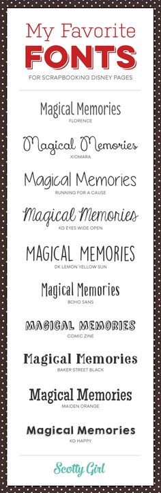 10 Favorite Fonts for Scrapbooking Your Disney Pages | scottygirldesign.com…