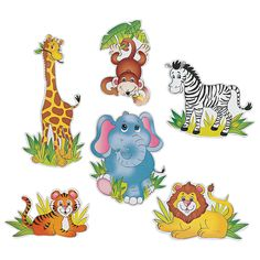 Make any room a jungle with the cute Zoo Animal Cutouts! They're party supplies that will turn birthday or school parties into a menagerie of fun. Jungle Animals, Baby Animals, Cute Animals, Wild Animals, Safari Theme Party, Party Themes, Jungle Theme, Party Ideas, Jungle Safari
