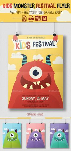 Kids Monster Festival #Flyer #template #graphicriver More