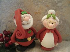 Santa and Mrs Claus  Figurines by countrycupboardclay on Etsy, $21.95