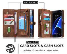 CaseMe Samsung Galaxy S7 Edge Zipper Wallet Detachable 2 in 1 Folio Case Brown