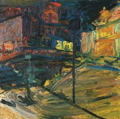Frank Auerbach - Looking Towards Mornington Crescent Station - Night 1972/73 Oil on board 127 x 127 cm 50 x 50""