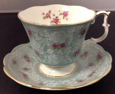 "Royal Albert Victorian Tea Cup & Saucer ""True Love"" Blue Chintz Pattern…"