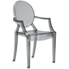 Burton Ghost Arm Chair In Smoke | Modern Dining Chair by EdgeMod at Contemporary Modern Furniture  Warehouse - 1