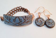 Polymer Clay Architectural ID Style Bracelet and Earrings on Etsy & TTEDesigns.com