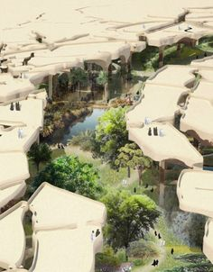 Concept art for developments arks, greenery and shade provision, in the middle east.