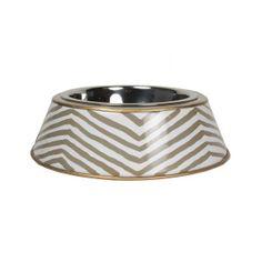 Grey Zebra Dog Bowl