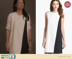 Joan's black and white asymmetric colorblock dress on Elementary. Outfit Details: http://wornontv.net/22634 #Elementary