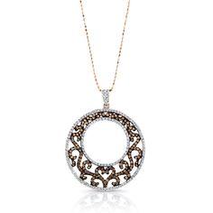 M.K. Diamonds filigree circle pendant