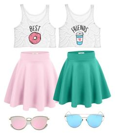 is part of Bff outfits - A fashion look from February 2017 featuring neon pink tank top, wide skirt and blue flared skirt Browse and shop related looks Best Friend T Shirts, Bff Shirts, Best Friend Outfits, Best Friend Clothes, Matching Outfits Best Friend, Bestfriend Matching Outfits, Best Friend Stuff, Girls Fashion Clothes, Teen Fashion Outfits