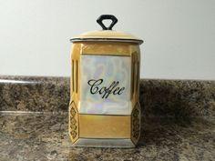 RARE Vintage Gold Victoria Czecho Slovakia Lustreware Coffee Canister 3100 | eBay