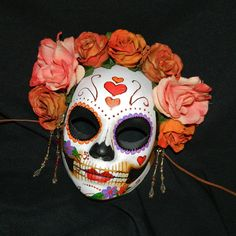 pink bridal Day of the Dead mask by *Masquefaire