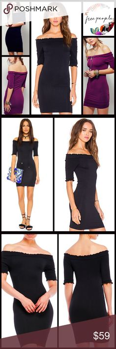 """Free People MINI DRESS Fitted Slip Dress  NEW WITH TAGS  RETAIL: $78 * A super soft, stretch-to-fit textured fabric w/ruffle trim  * Elbow length sleeves, wear on/off shoulder, Bodycon shift silhouette * Pullover ****Tagged size M-L or XS/S  * Approx 29"""" L  bodycon body conscious bandage Fabric: Nylon, 8% spandex Color: Black  Item#  Fuschia berry shirt dress sheath No Trades ✅Offers Considered*/Bundle Discounts✅ *Please use the 'offer' button to submit an offer. Free People Dresses Mini"""
