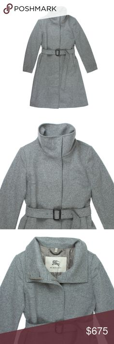 """BURBERRY LONDON Wool & Cashmere Funnel Collar Coat Size - USA 4   This gorgeous gray wool & cashmere coat from BURBERRY LONDON is in absolutely excellent condition. Worn only a couple times, if that. It features a funnel collar, hidden button closures, side pockets, and a detachable belt at the waist. Fully lined. Made of 80% Wool, 20% cashmere. 100% Authentic Burberry.   Measures: Bust: 38"""" Total Length: 41"""" Sleeves: 24"""" Burberry Jackets & Coats"""