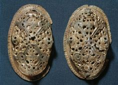Viking women's shell-shaped brooches. Viking Age.