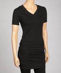 Take a look at this Black Ruched V-Neck Top by Zenana on #zulily today! Great for pregnancy too!
