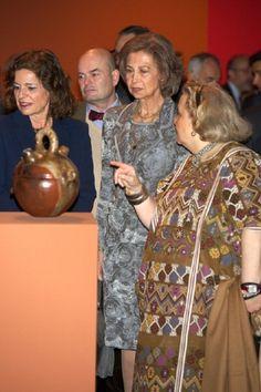 Queen Sofia of Spain (C) visits the 'Grandes Maestros del Arte Popular de Iberoamerica' exhibition at the Fernan Gomez Teather on 2 April 2013