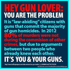 """It is the """"law-abiding"""" citizens with guns that commit the majority of gun homicides. In 2012 80% of murders were not during the commission of other crimes, but due to arguments between two people who already knew each other. It's you & your guns."""