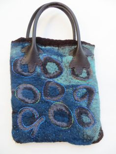 Blue and Brown purse by janeville on Etsy