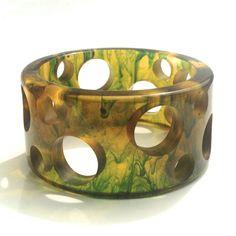 Bakelite Bangle Bracelet Transparent Swiss Cheese Carving