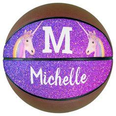 Purple Glitter Unicorn Girls Monogram Personalized Basketball - tap, personalize, buy right now! #Basketball #unicorn, #glitter, #purple, #girly, #name,