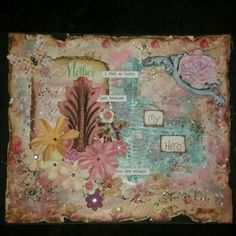 Made this for my mother <3 using #thetalesofyouandme collection from #primamarketing  #mould #tcwstencils #glassglitter #art #mixedmedia #canvas