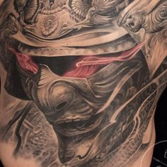 I'm on vacation with my family since one week in #Cali and I couldn't be happier .... I miss tattooing already and dreaming with it while sleeping Here is a close up of a #samuraimask I finished earlier this year...