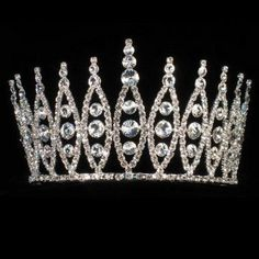 Girls Silver Solitaire Pageant Quinceanera Communion Crown Headpiece -- 13% DISCOUNT for a limited time!