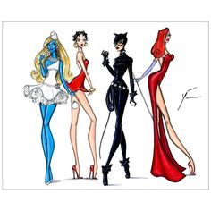 Cartoon Icons: Smurfette, Betty Boop, Catwoman & Jessica Rabbit by Yigit Ozcakmak #ToonIcons #Smurfette #BettyBoop #Catwoman #JessicaRabbit