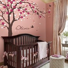 Pop Decors Removable Vinyl Art Wall Decals Mural, Cherry Blossom Tree/Dark Brown/Hot Pink