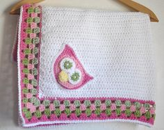 baby blanket with granny border & owl