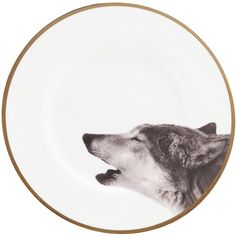 Howling wolf bone china plate (225 AUD) ❤ liked on Polyvore featuring home, kitchen & dining, dinnerware, circle, decor, kitchen, animals, filler, backgrounds and circular