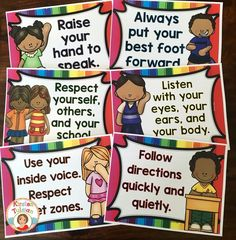 Classroom rules in bright rainbow colors are perfect for any elementary classroom!  Choose from 11 rules and/or create your own!  This also comes with a matching behavior chart.