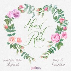 Watercolour Roses Wreath and Bouquets with Floral elements.