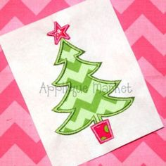 Machine Embroidery Design Applique Christmas Tree 5 INSTANT DOWNLOAD