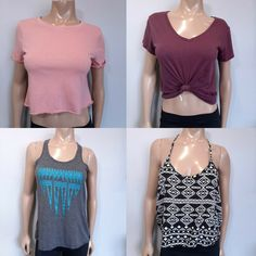Lot of 4 Junior Womens Tops Tanks Size Small Forever 21 Bella Canvas Garage Crop #FOREVER21 #Cropped #Casual Crop Tops, Tank Tops, Tank Top Shirt, Bella Canvas, Tanks, Garage, Forever 21, Casual, Blouses