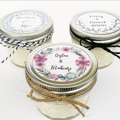 50 Custom Mason Jar Wedding and Shower Favors  IF YOUR EVENT IN IS LESS THAN 5 WEEKS, PLEASE CONTACT ME BEFORE PURCHASING TO ASSURE THAT THEY CAN BE DELIVERED IN TIME. These adorable little candle favors would make perfect gifts for your guests! Your customization options:  ~ Any of our scents (more than one scent can be chosen)(fragrance list below) ~ Any color wax! Send us a picture of your wedding colors and we can match them! ~ Hang tags or labels on the top of the jar on every candle…
