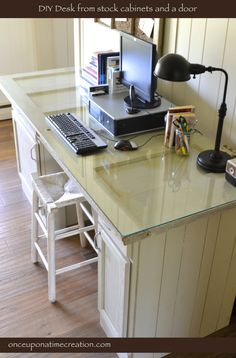 DIY Desk from stock cabinets and a door