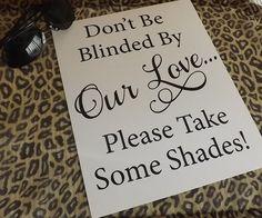 Wedding Sunglasses Sign Outdoor Wedding Beach Wedding by RecipeBox
