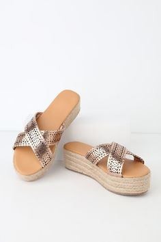 f7dd89b890e Shawna Rose Gold Laser Cut Flatform Espadrille Sandals