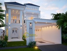 NA Private House - Jakarta- Quality house design of architectural services, experienced professional Bali Villa Tropical designs from Emporio Architect. Dream House Exterior, Dream House Plans, Asian House, Classic House Design, Latest House Designs, Architectural Services, Hacienda Style, Luxury Homes Interior, Facade House