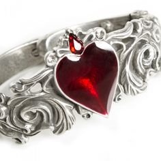Swirling Floral Bangle with Red Enamel Heart